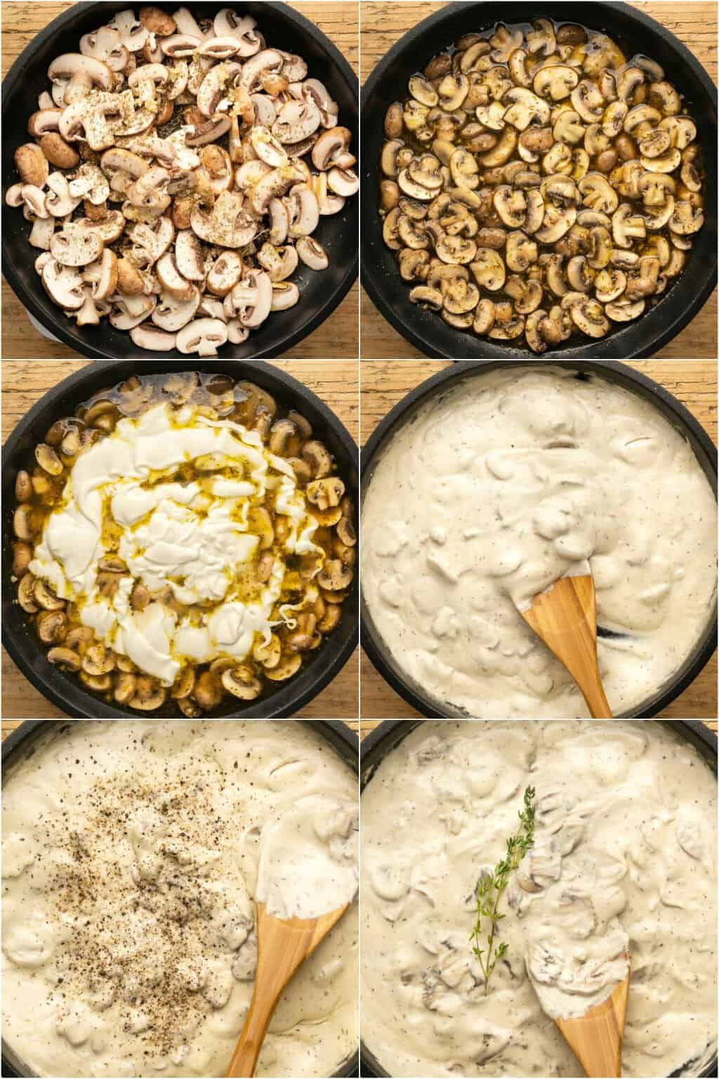 Step by step process photo collage of making vegan mushroom sauce.