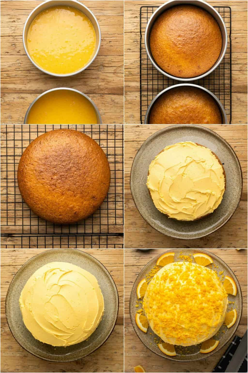 Step by step process photo collage of making vegan orange cake