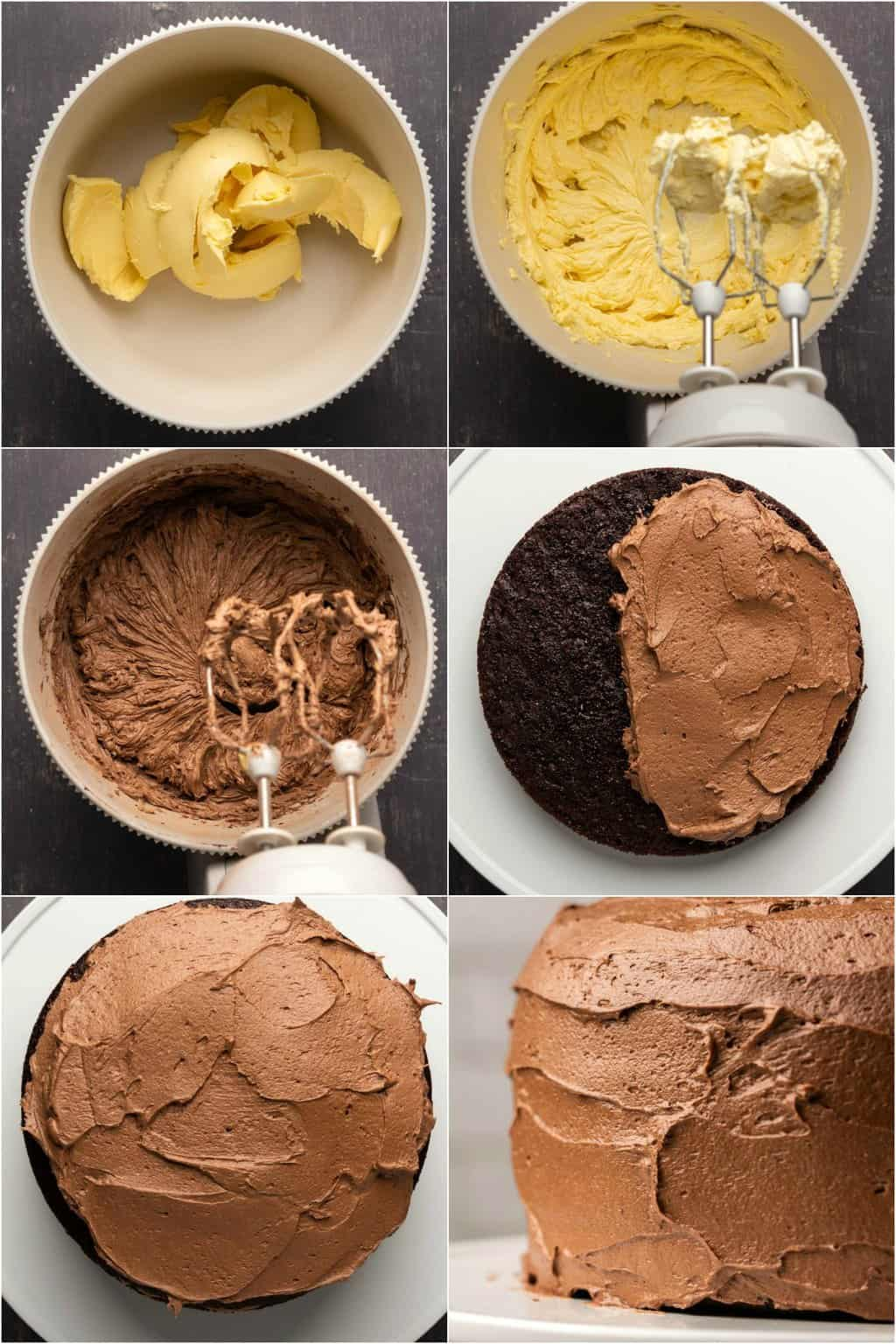 Step by step process photo collage of making vegan chocolate buttercream frosting.