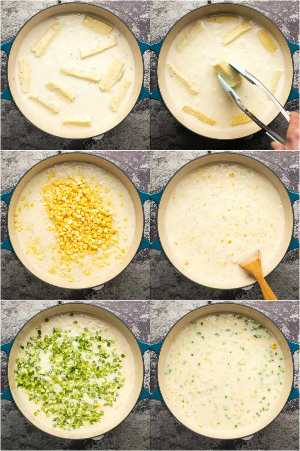 Step by step process photo collage of making vegan corn chowder.