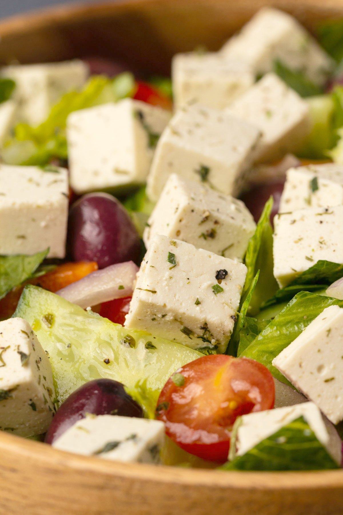 Vegan feta on top of a Greek salad.