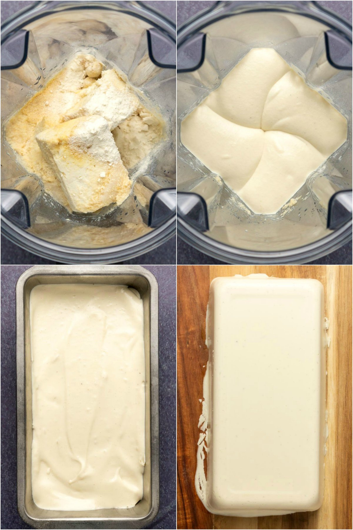 Step by step process photo collage of making vegan feta cheese.