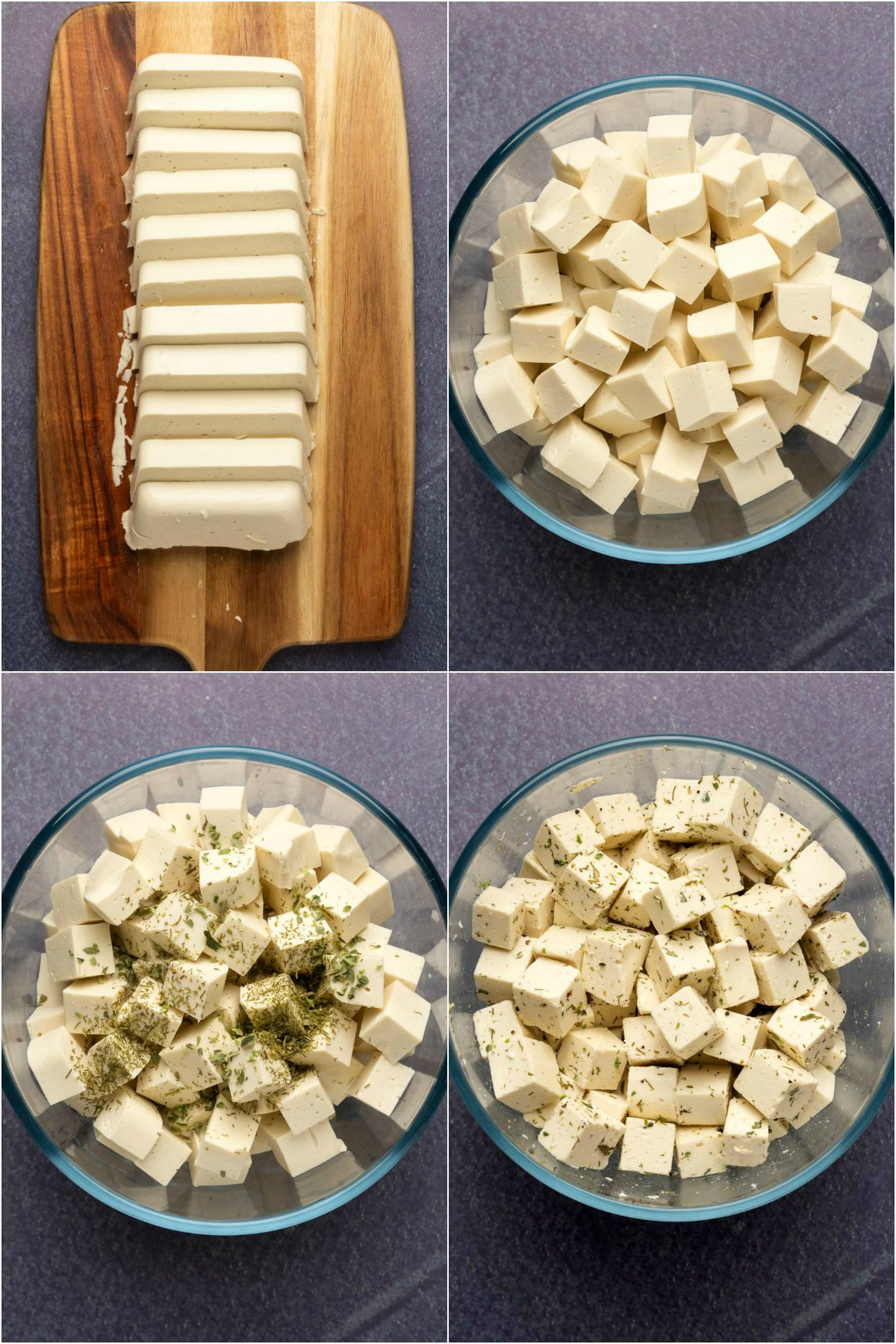 Step by step process photo collage of making vegan feta.