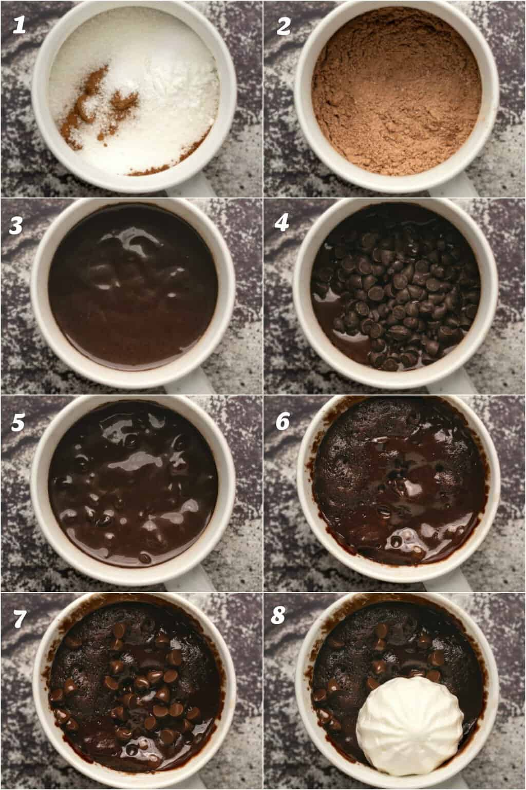 Step by step process photo collage of making a vegan mug cake.