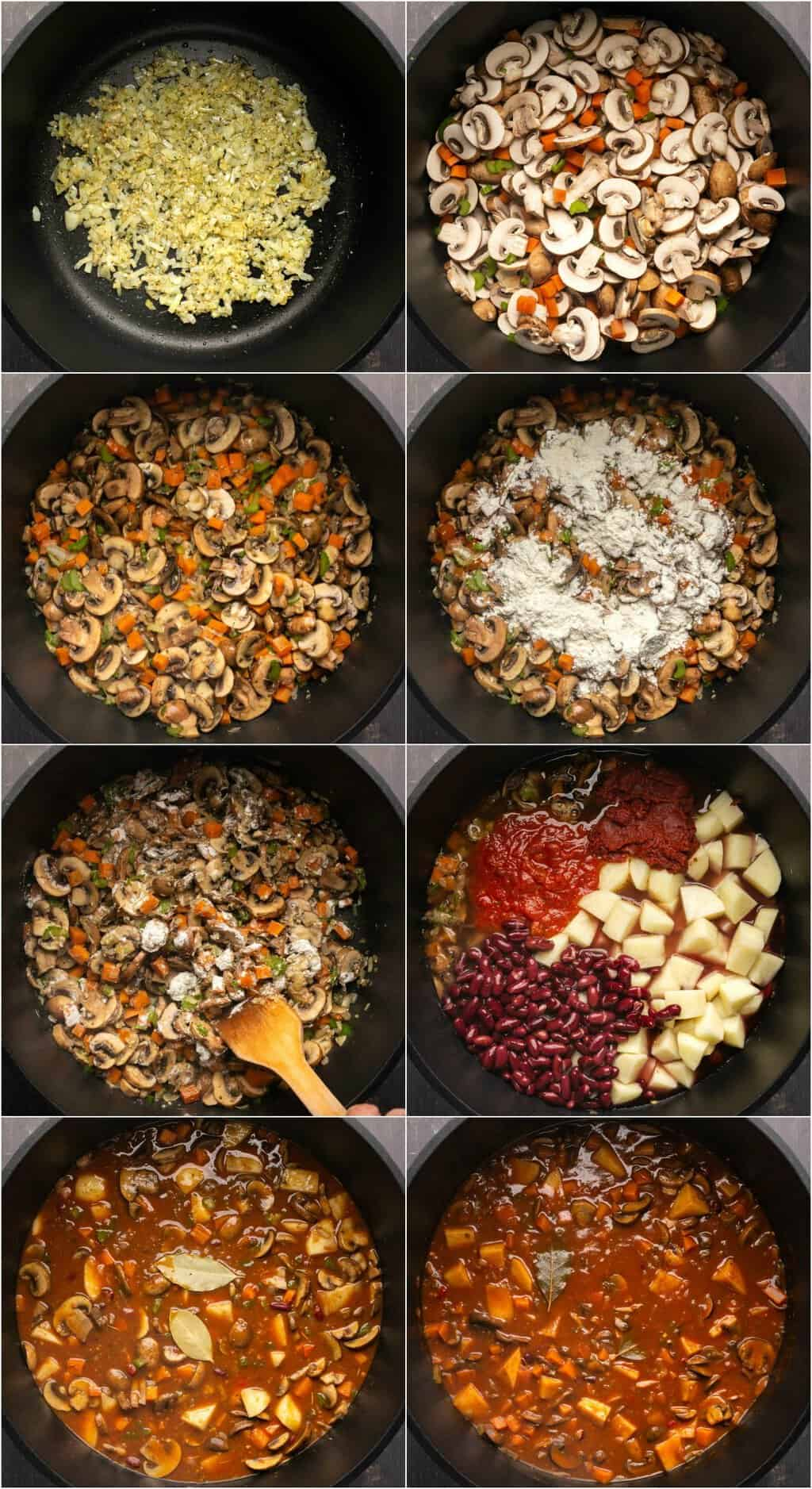 Step by step process photo collage of making vegan stew.