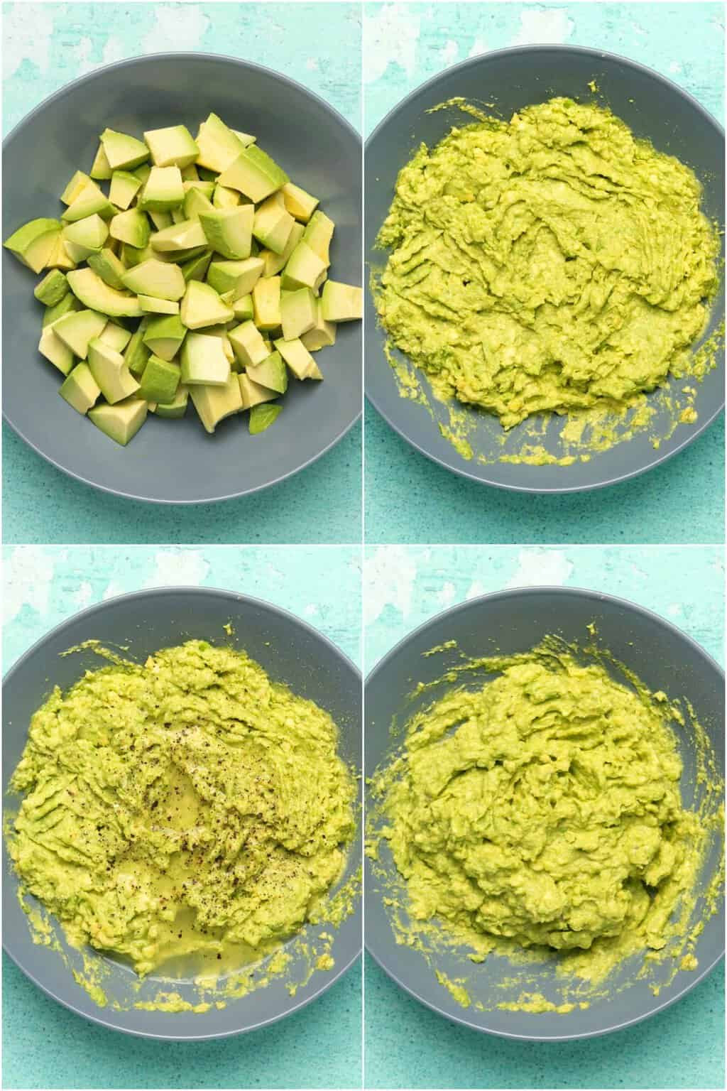 Step by step process photo collage of making guacamole for vegan burrito bowls