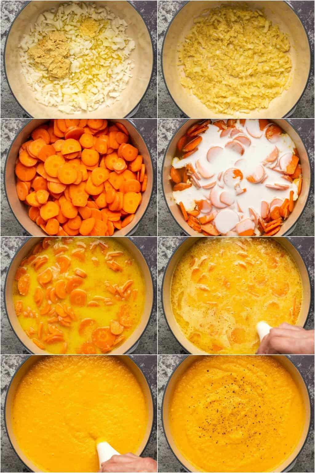 Step by step process photo collage of making vegan carrot ginger soup.