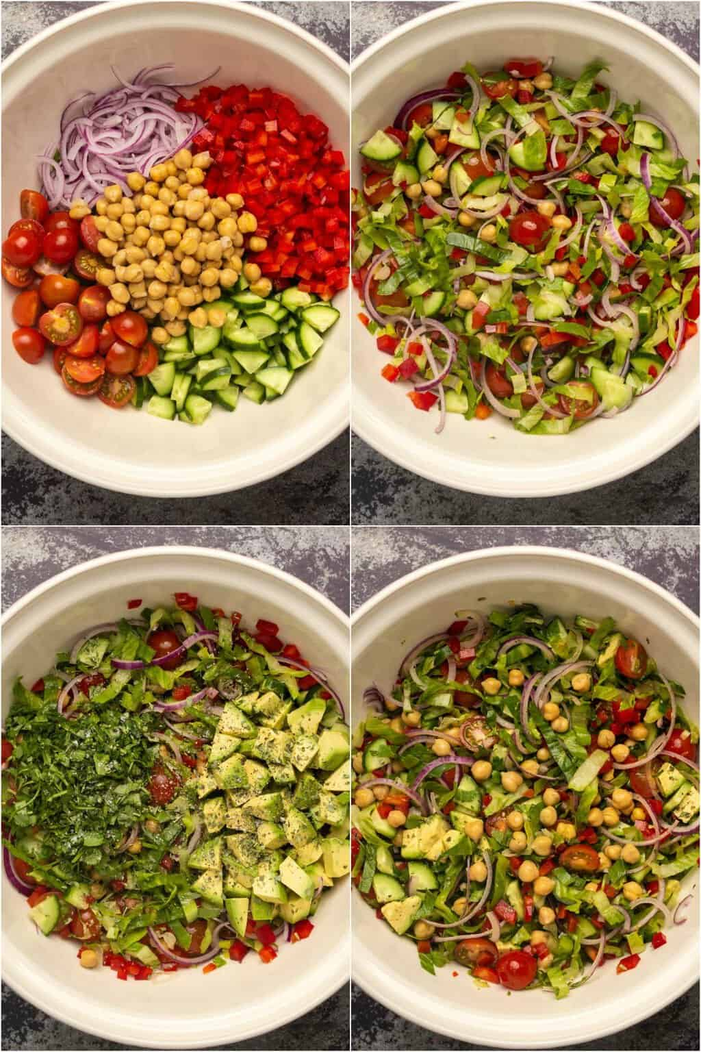 Step by step process photo collage of making vegan chickpea salad.