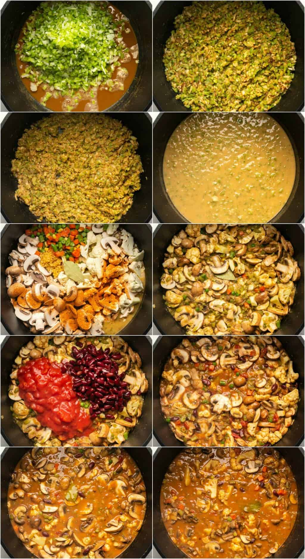 Step by step process photo collage of making vegan gumbo.