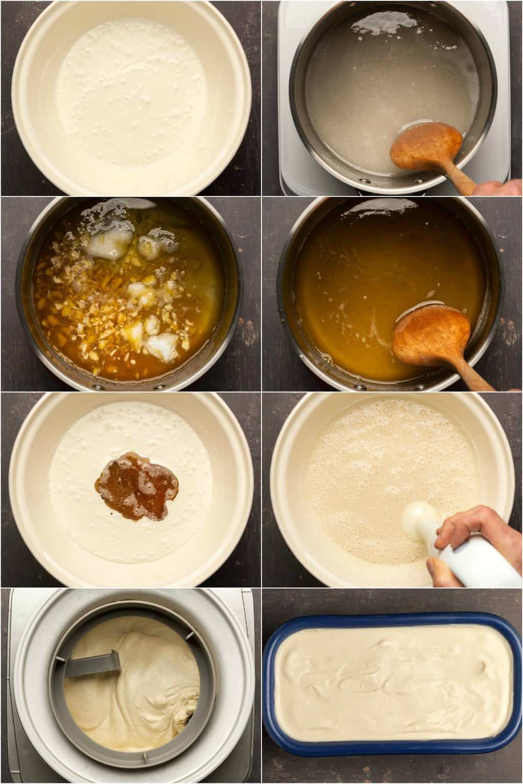Step by step process photo collage of making vegan ice cream.