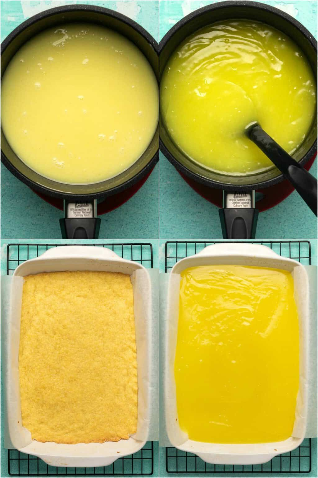Step by step process photo collage of making vegan lemon bars.
