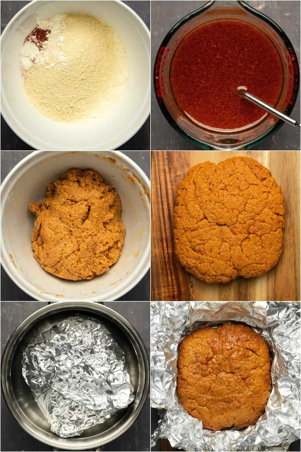 Step by step process photos of preparing the seitan dough for vegan bacon.