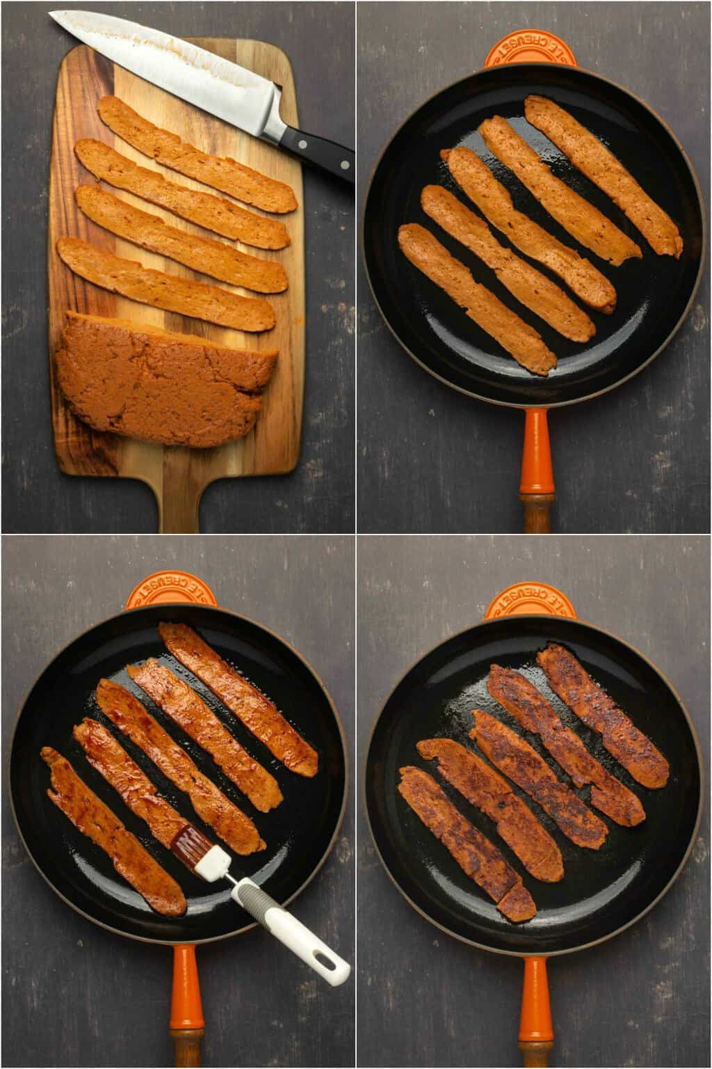 Step by step process photo collage of making vegan bacon.