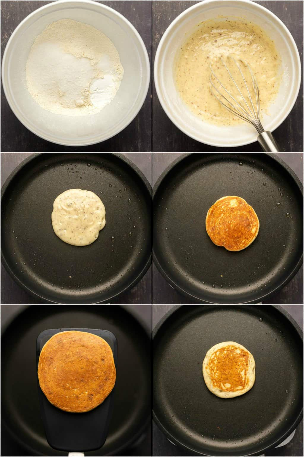 Step by step process photo collage of making vegan gluten free pancakes