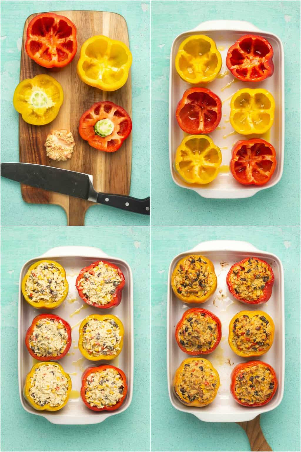 Step by step process photo collage of making vegan stuffed peppers.