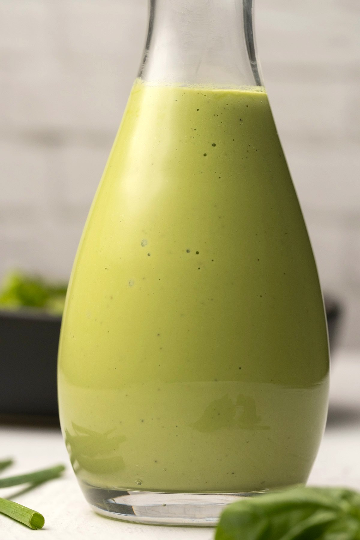 Cashew dressing in a glass container.