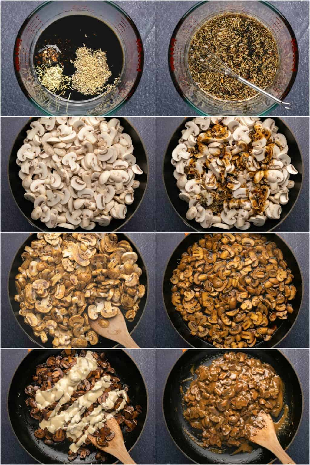 Step by step process photo collage of making a dairy free mushroom sauce.