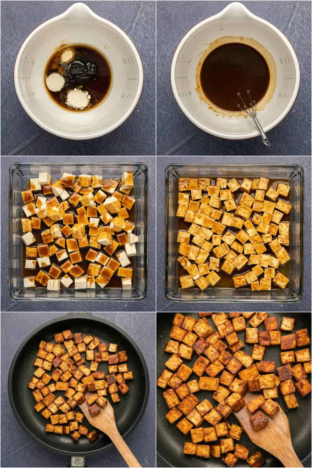 Step by step process photos of making marinated tofu.