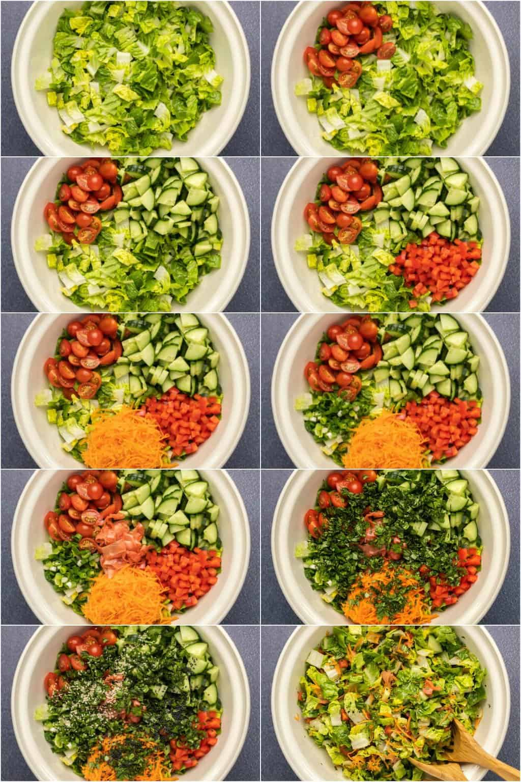 Step by step process photo collage of assembling a tofu salad.
