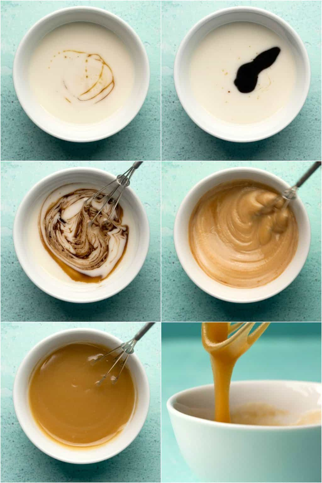 Step by step process photo collage of making vegan caramel sauce.