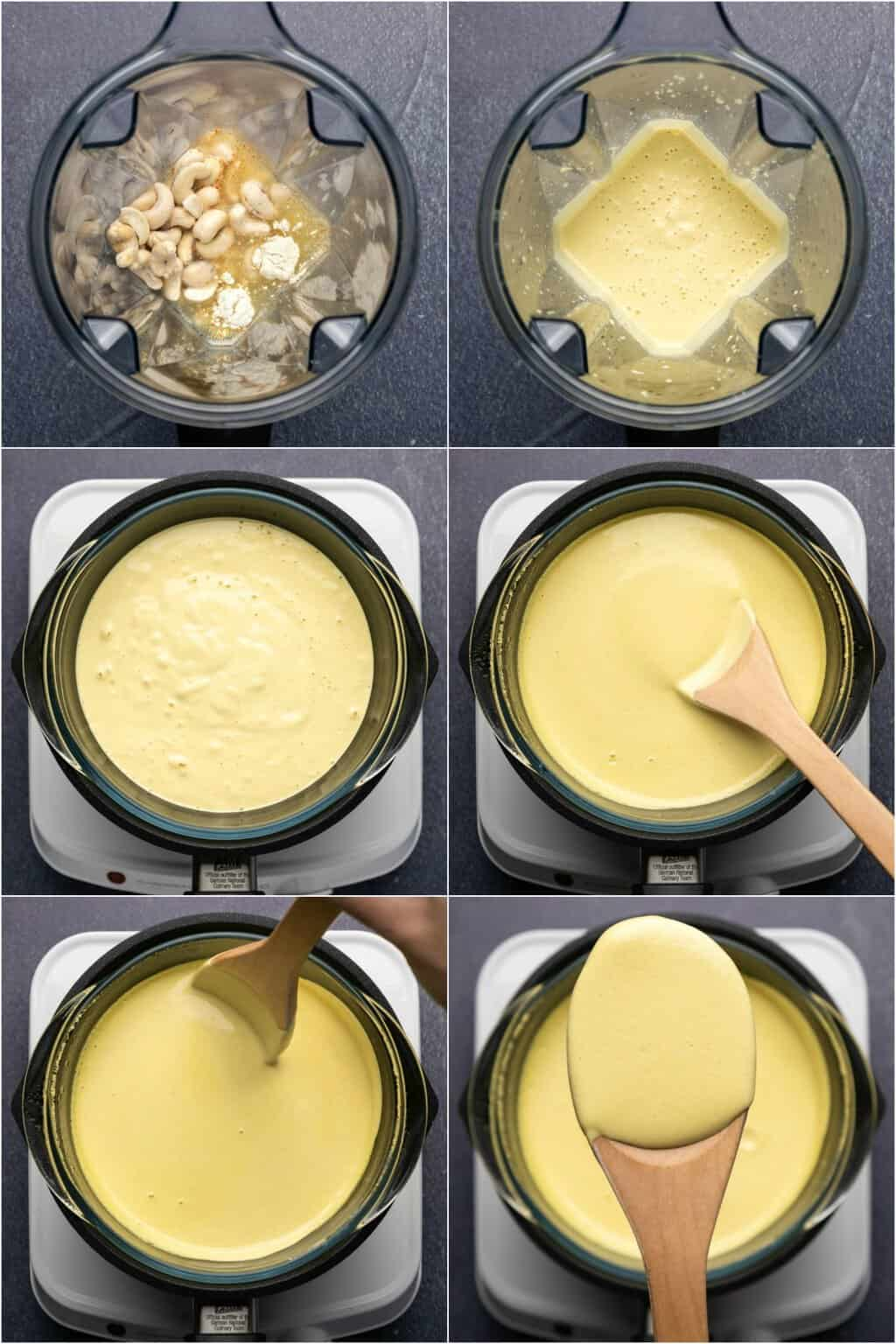 Step by step process photo collage of making a vegan hollandaise sauce.