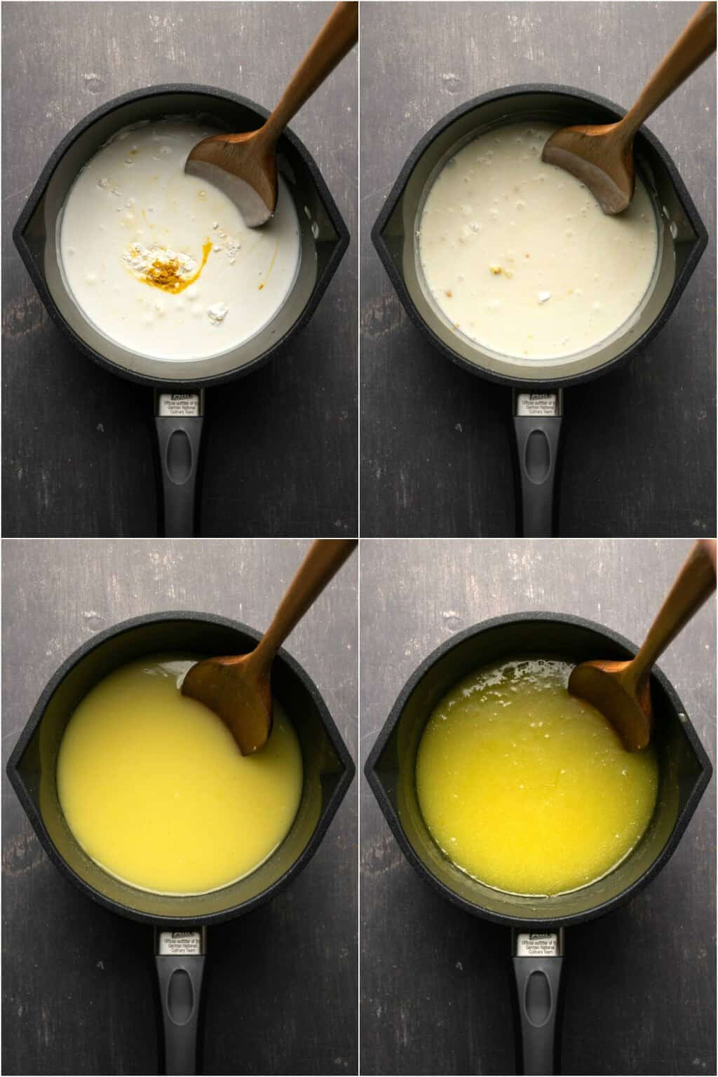 Step by step process photo collage of making vegan lemon curd.