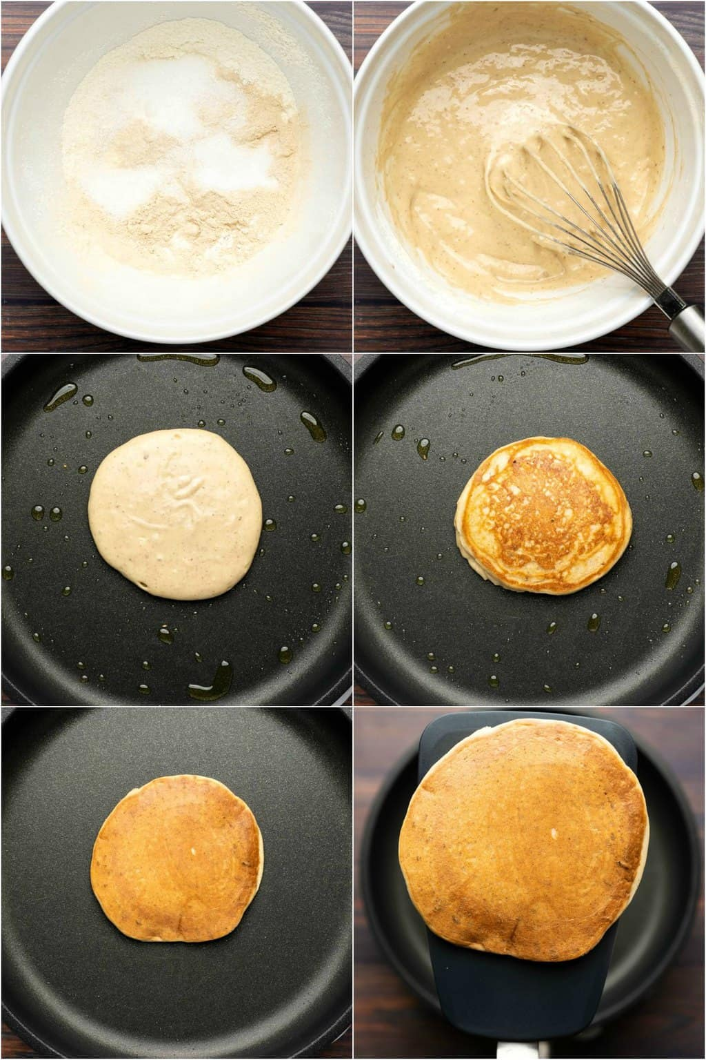Step by step process photo collage of making vegan protein pancakes.