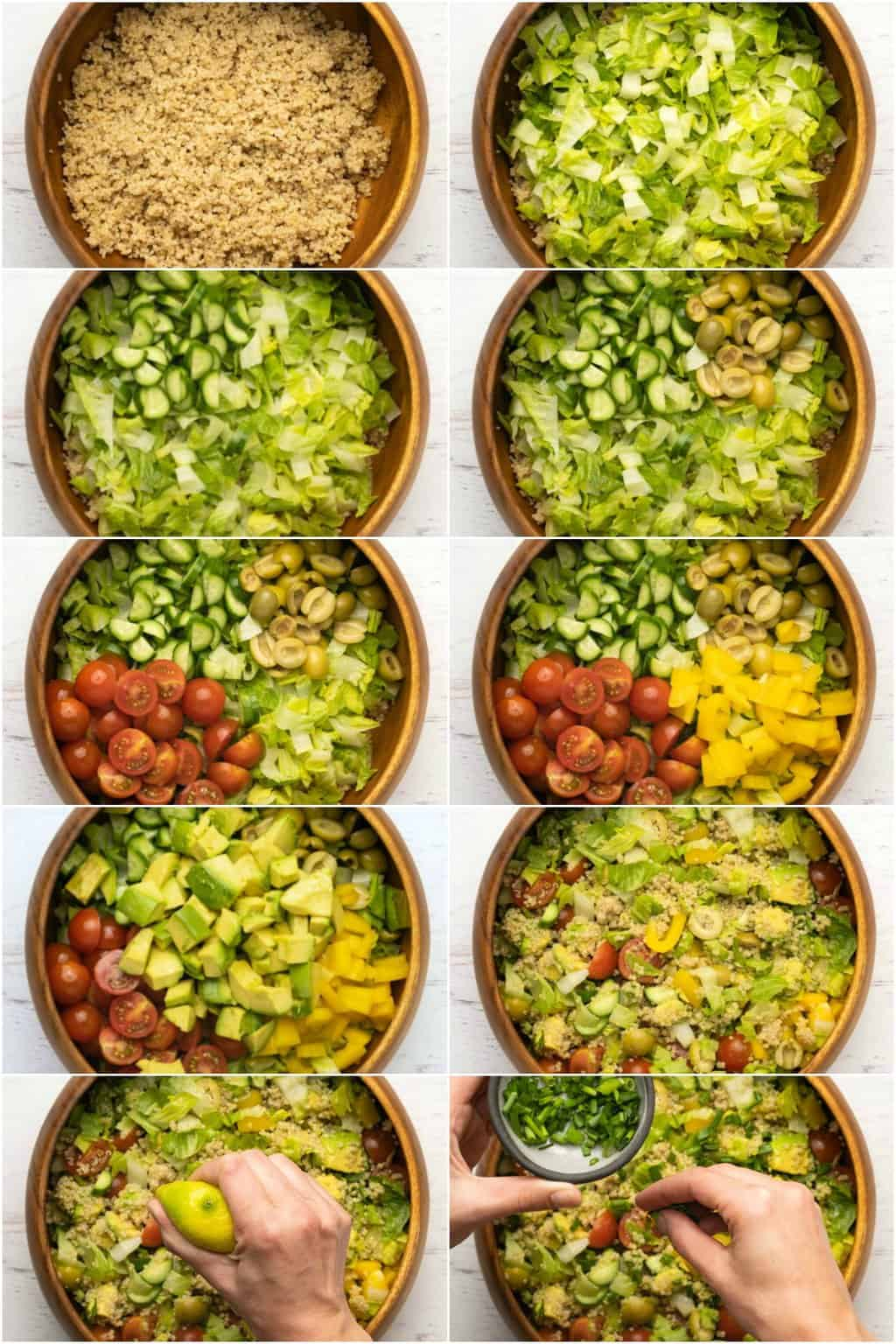 Step by step process photo collage of assembling a vegan quinoa salad.