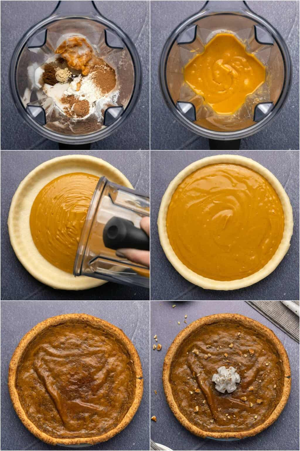 Step by step process photo collage of making vegan sweet potato pie.