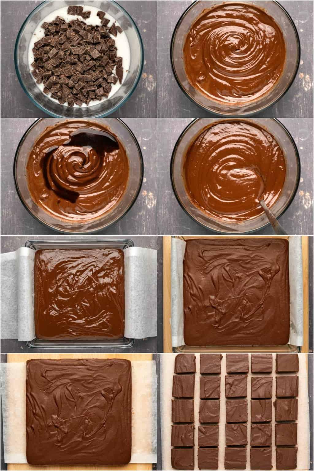 Step by step process photo collage of making 3-ingredient vegan fudge.