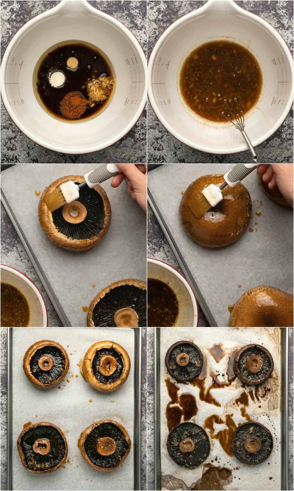 Step by step process photo collage of making baked portobello mushrooms.