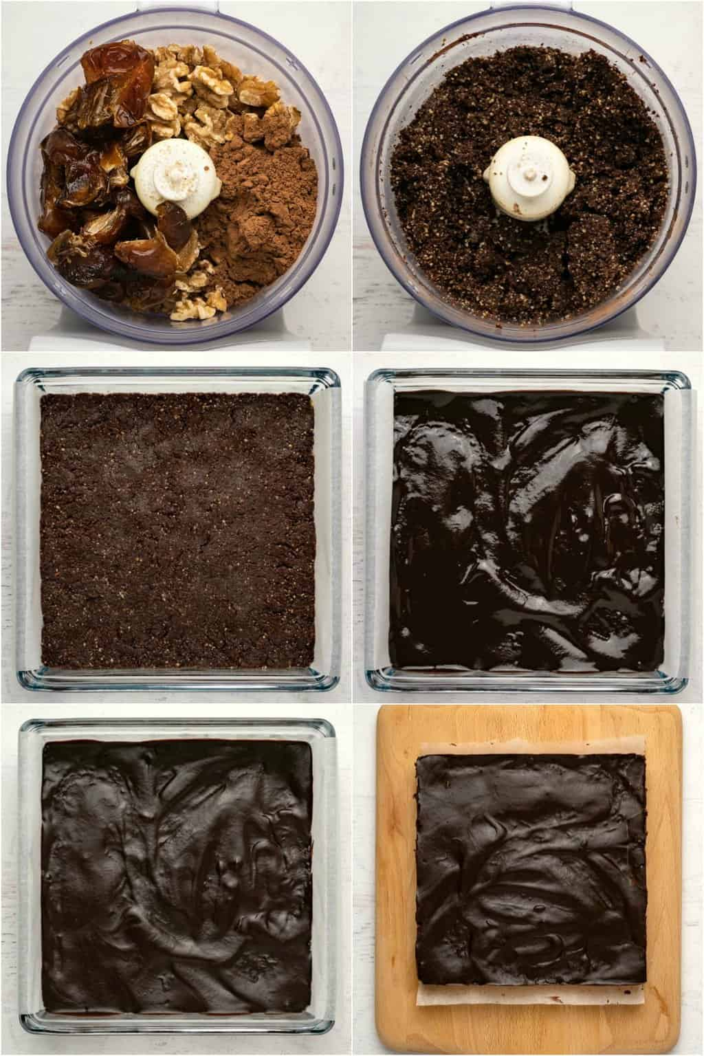 Step by step process photo collage of making raw vegan brownies.