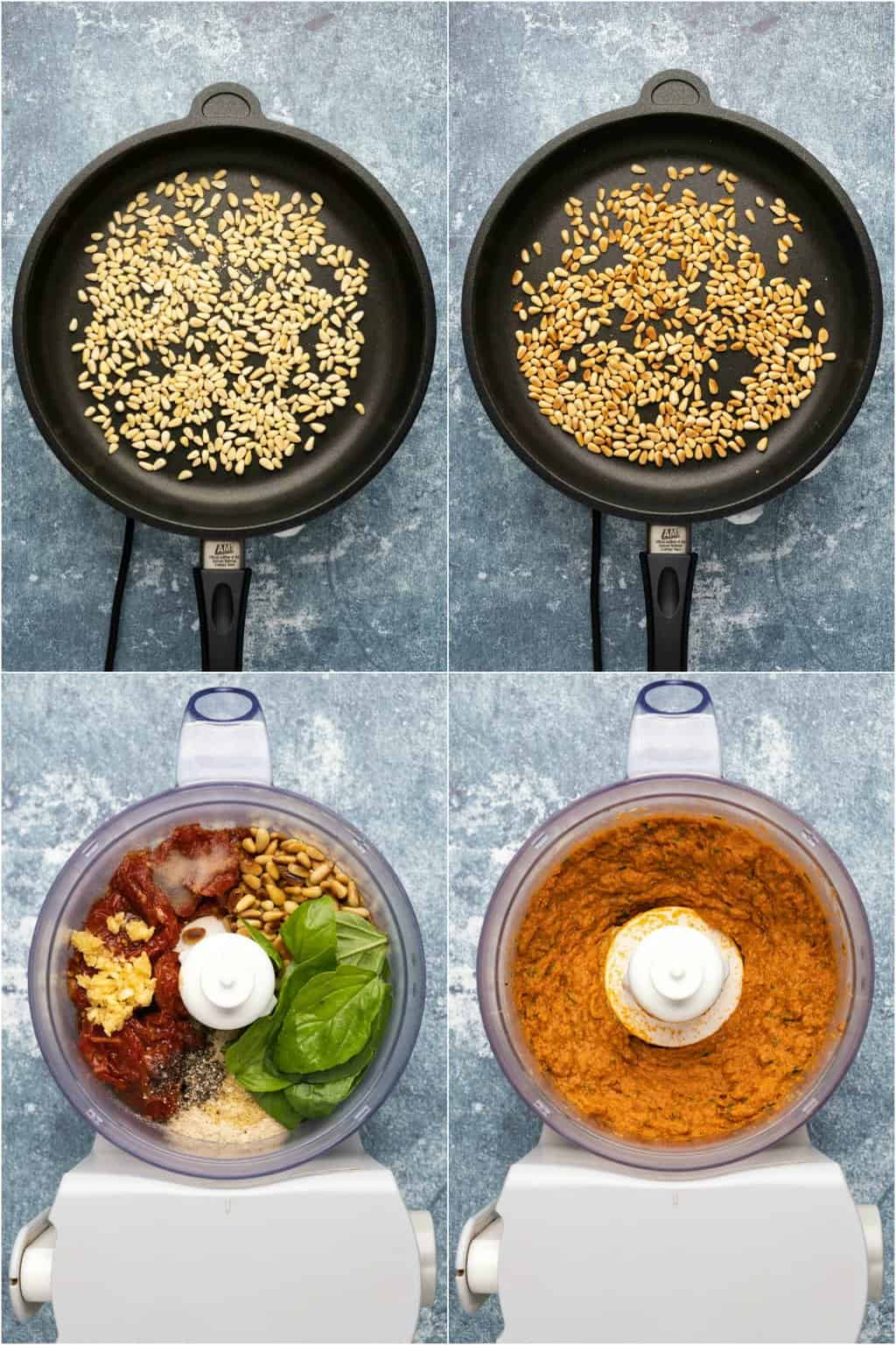 Step by step process photo collage of making a sun dried tomato pesto.