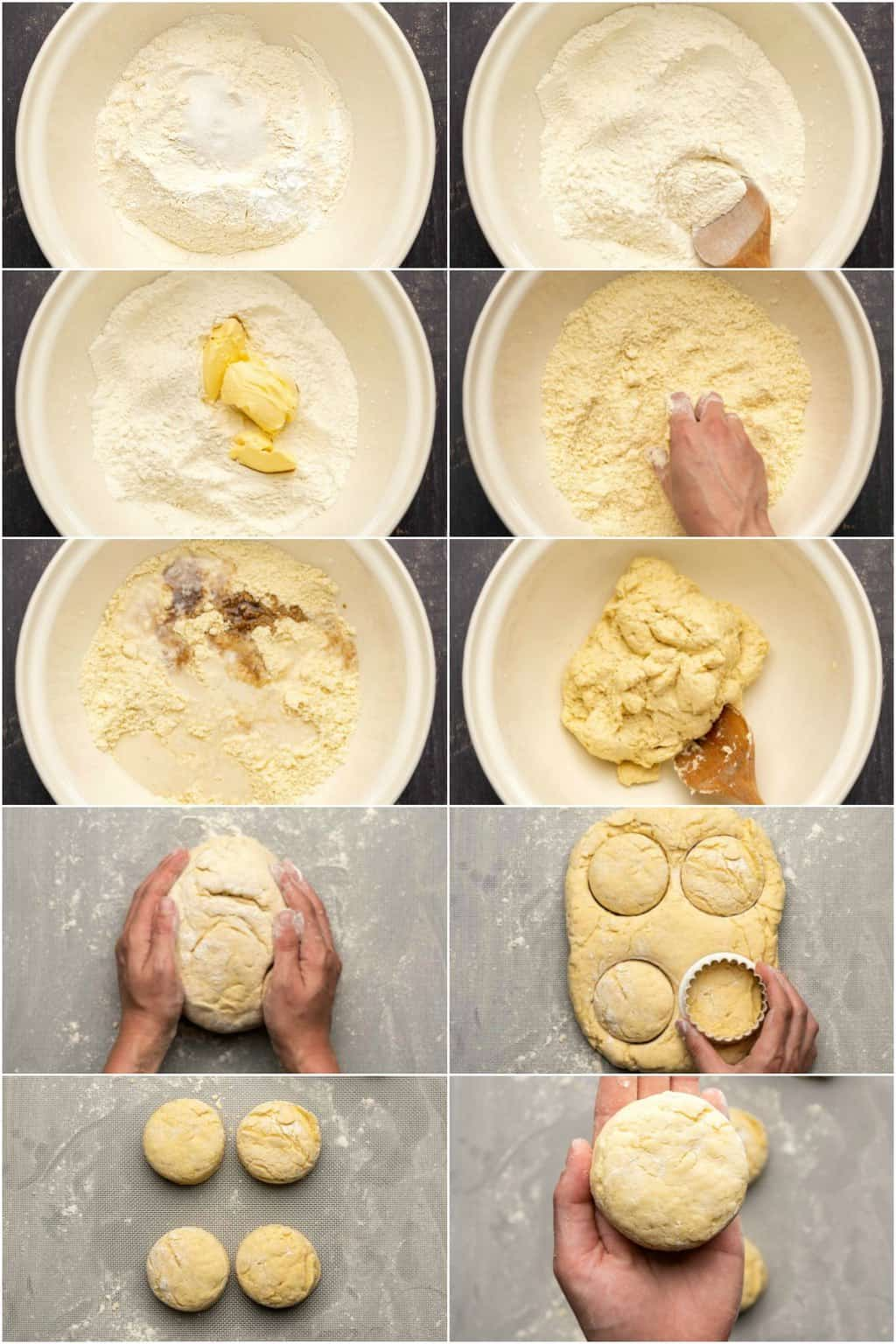 Step by step process photo collage of making vegan biscuits.