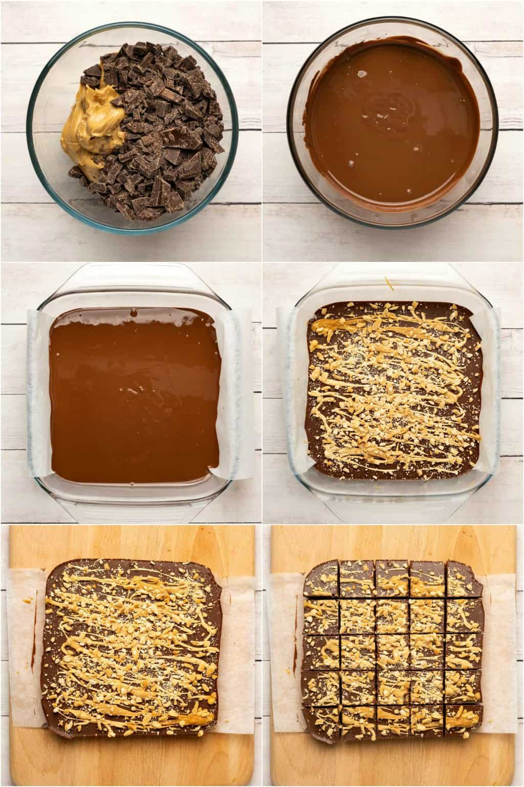 Step by step process photo collage of making vegan chocolate peanut butter fudge.