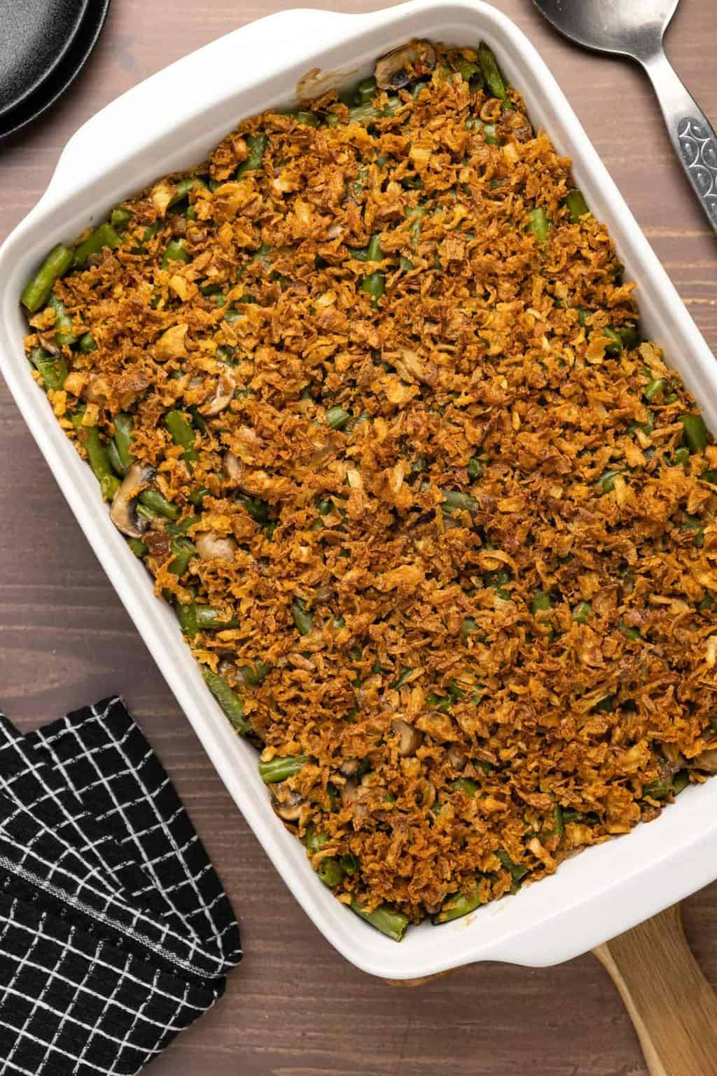 Vegan green bean casserole in a white dish.