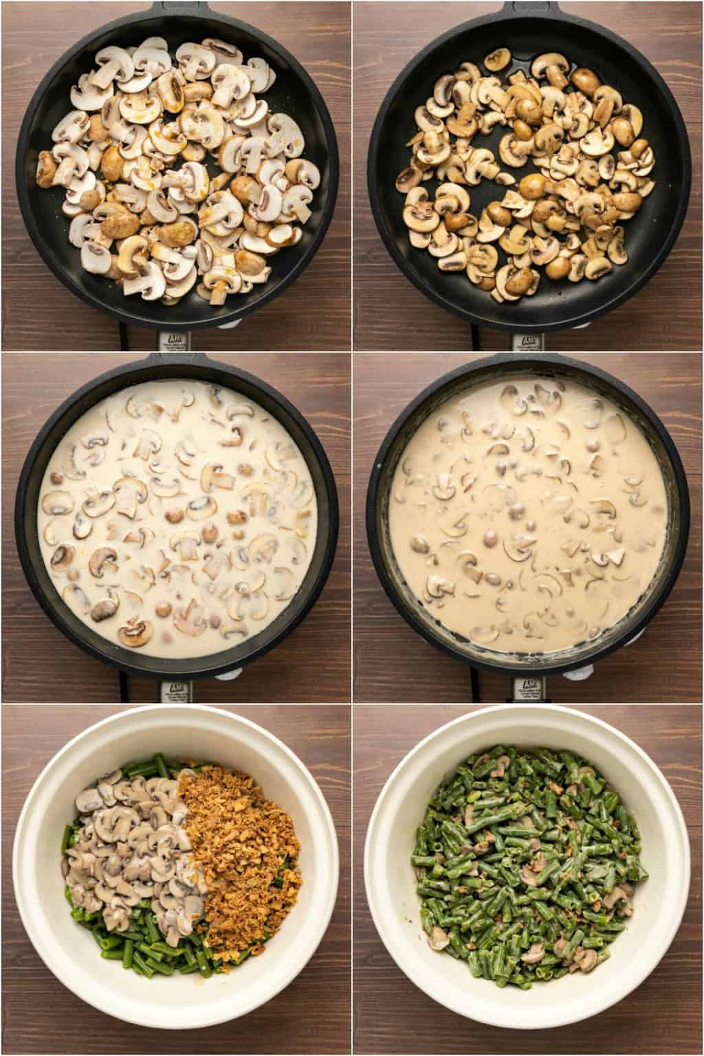 Step by step process photo collage of making a vegan green bean casserole.