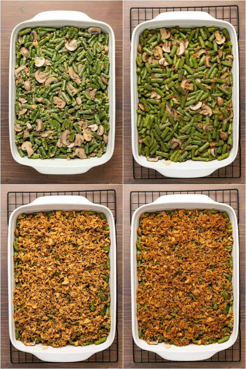 Step by step process photo collage of assembling a green bean casserole.