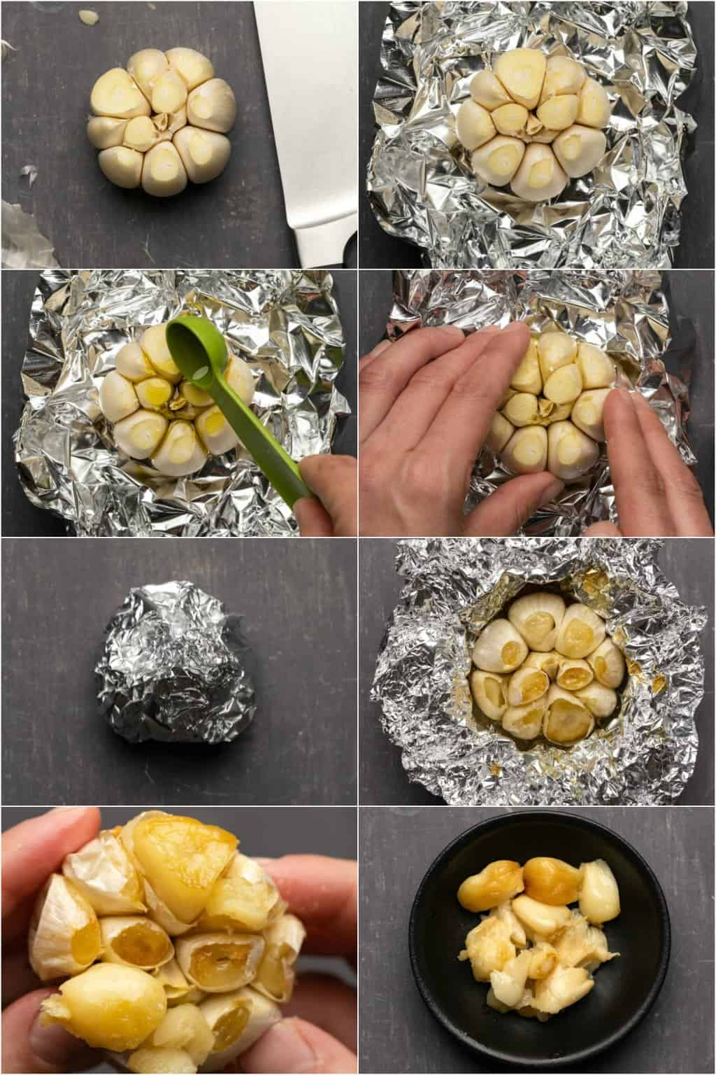 Step by step process photo collage of making roasted garlic.