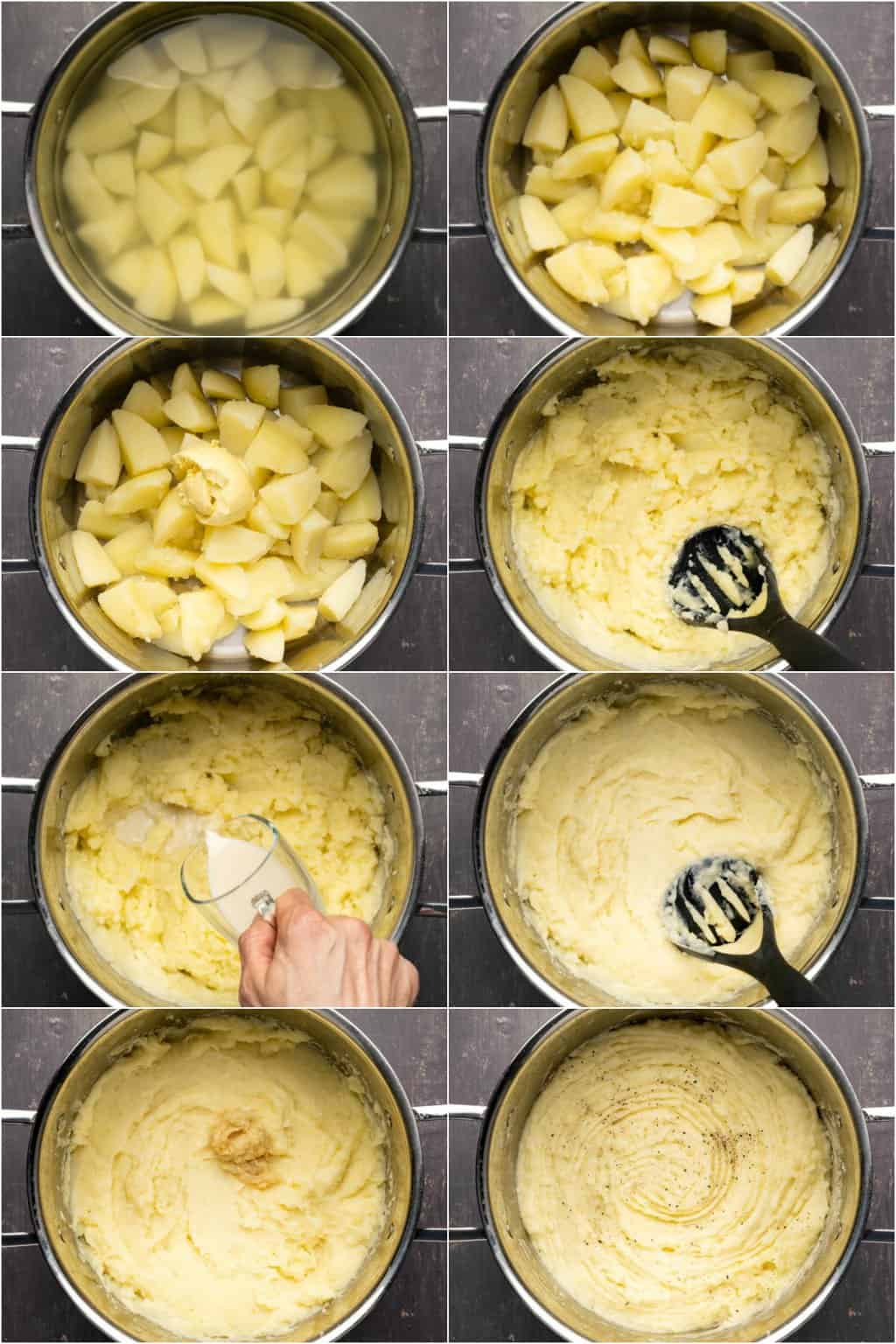 Step by step process photo collage of making vegan mashed potatoes.