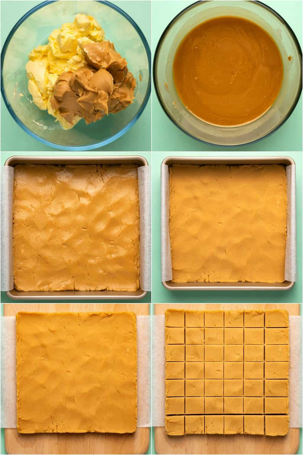Step by step process photo collage of making vegan peanut butter fudge.