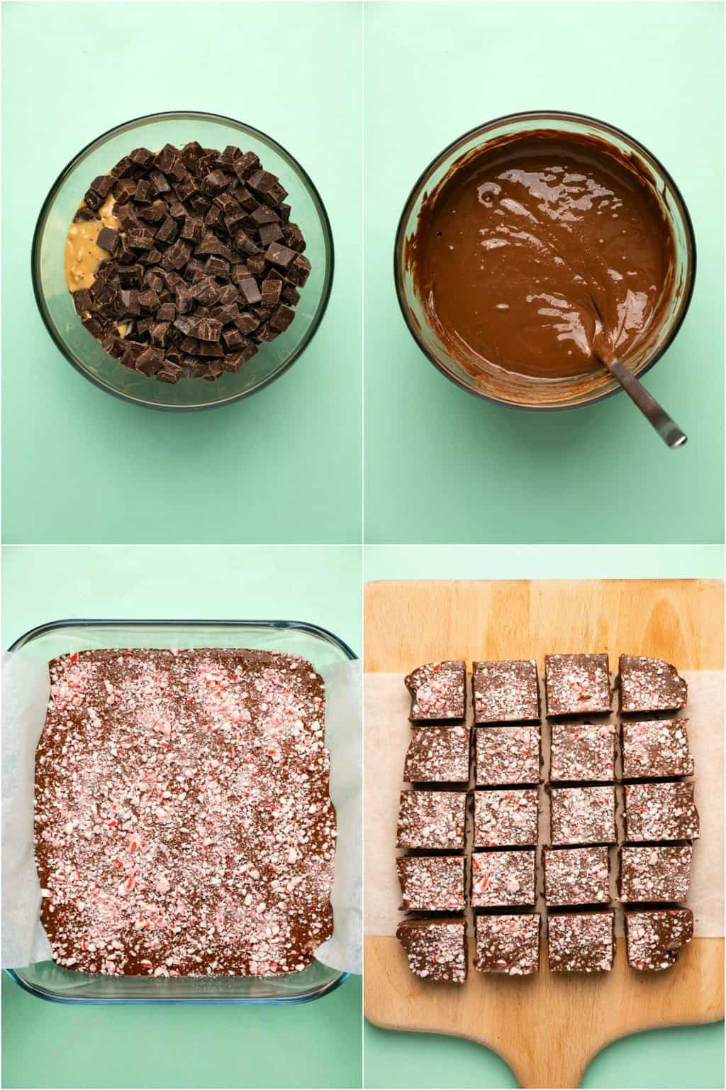 Step by step process photo collage of making vegan peppermint fudge