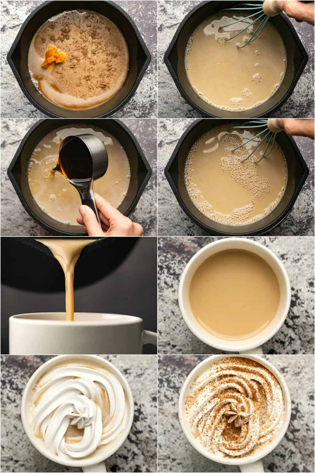 Step by step process photo collage of making a vegan pumpkin spice latte.
