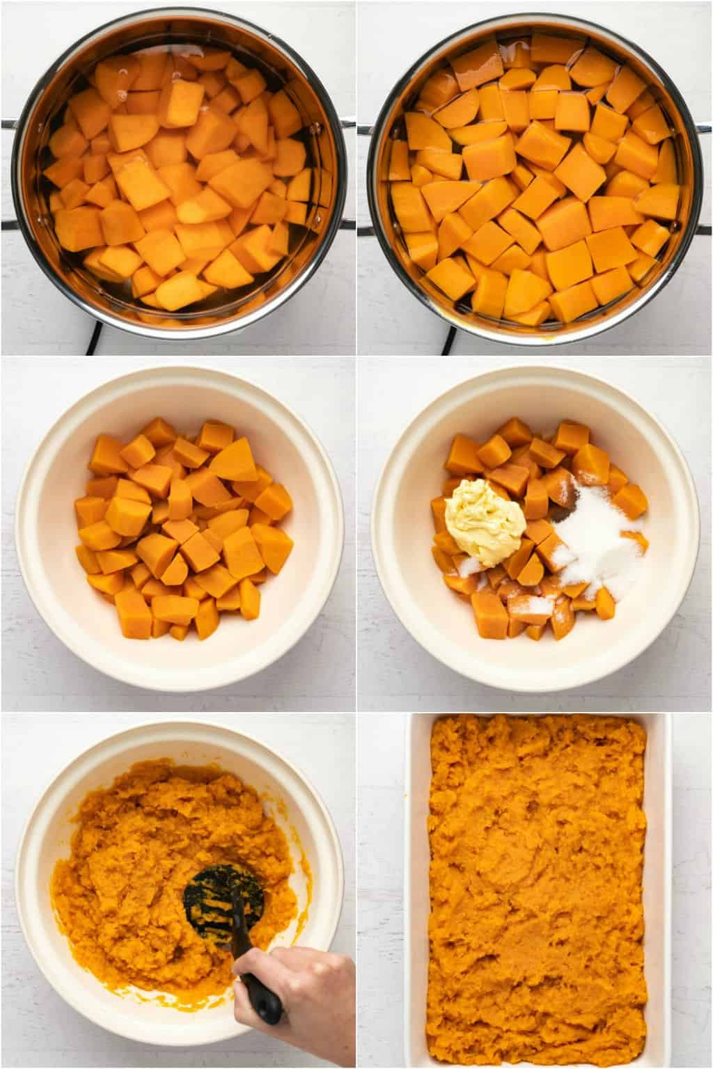 Step by step process photo collage of making the mashed sweet potato for a sweet potato casserole.