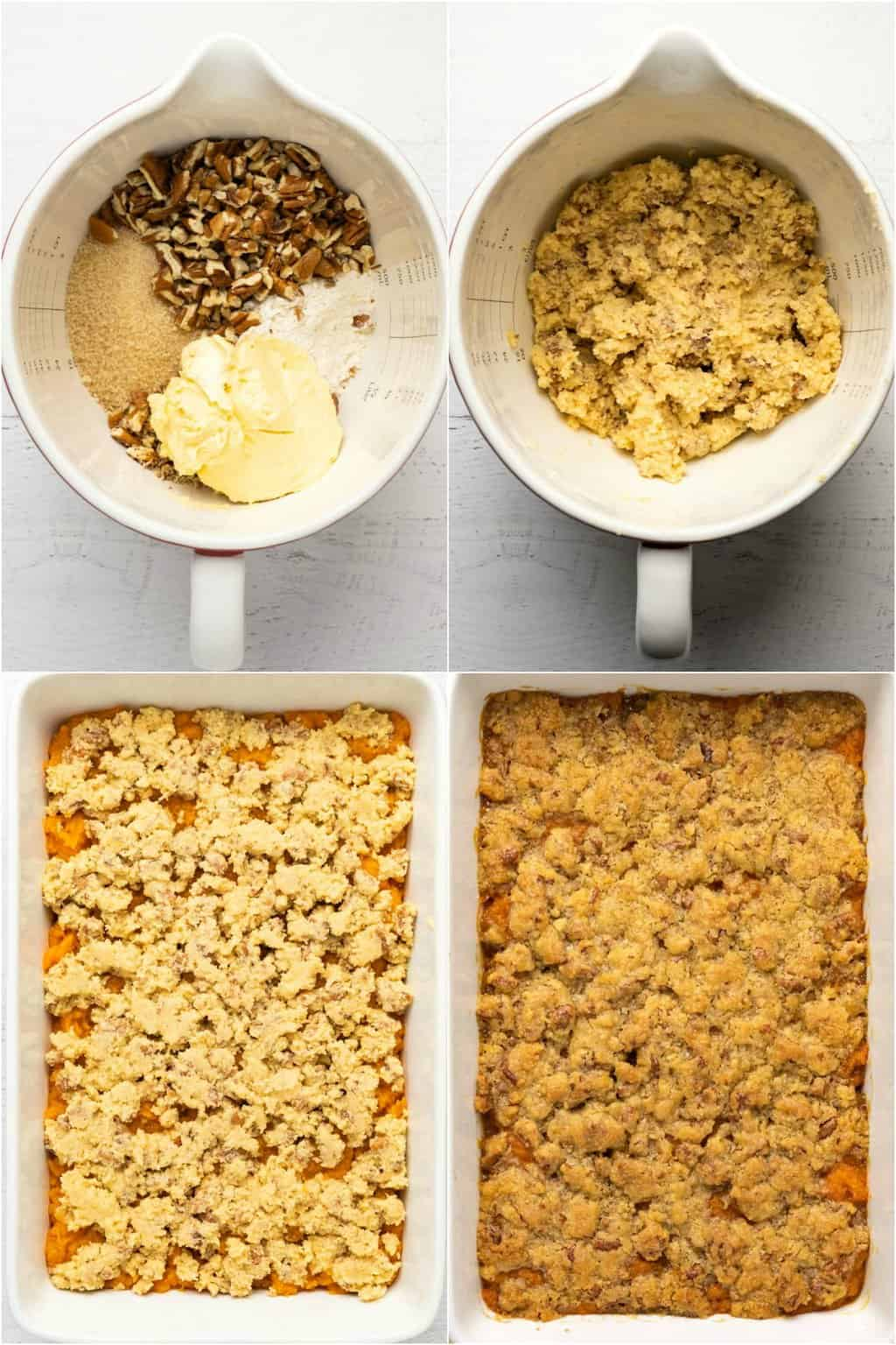 Step by step process photo collage of making the streusel topping and assembling a vegan sweet potato casserole