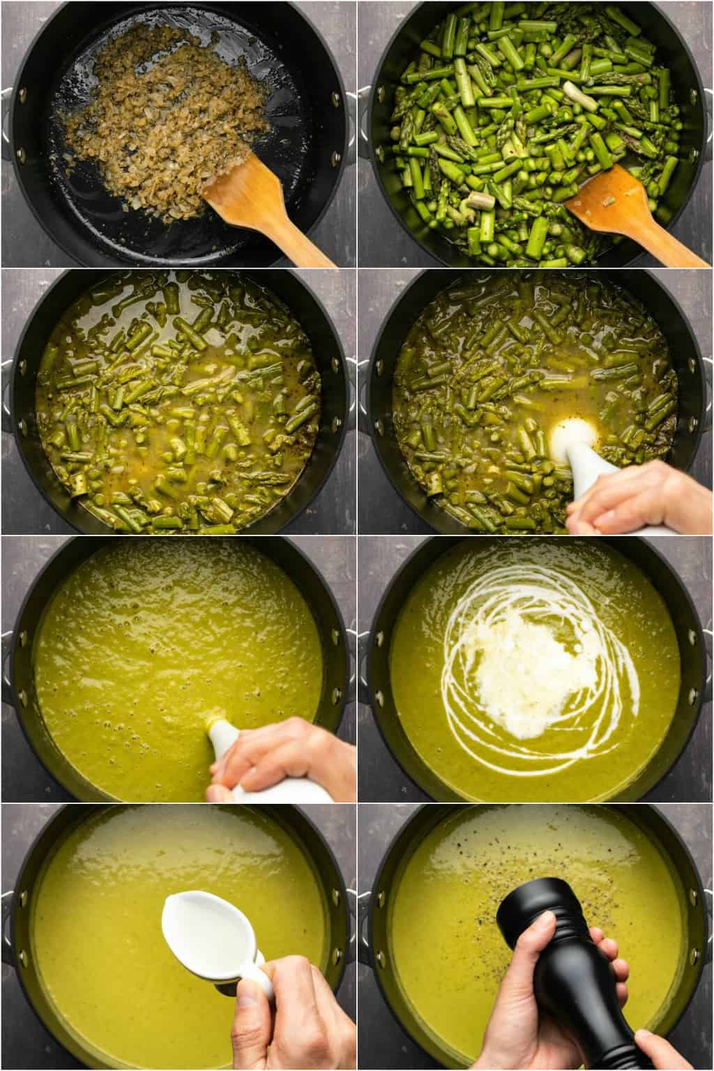 Step by step process photo collage of making vegan asparagus soup.