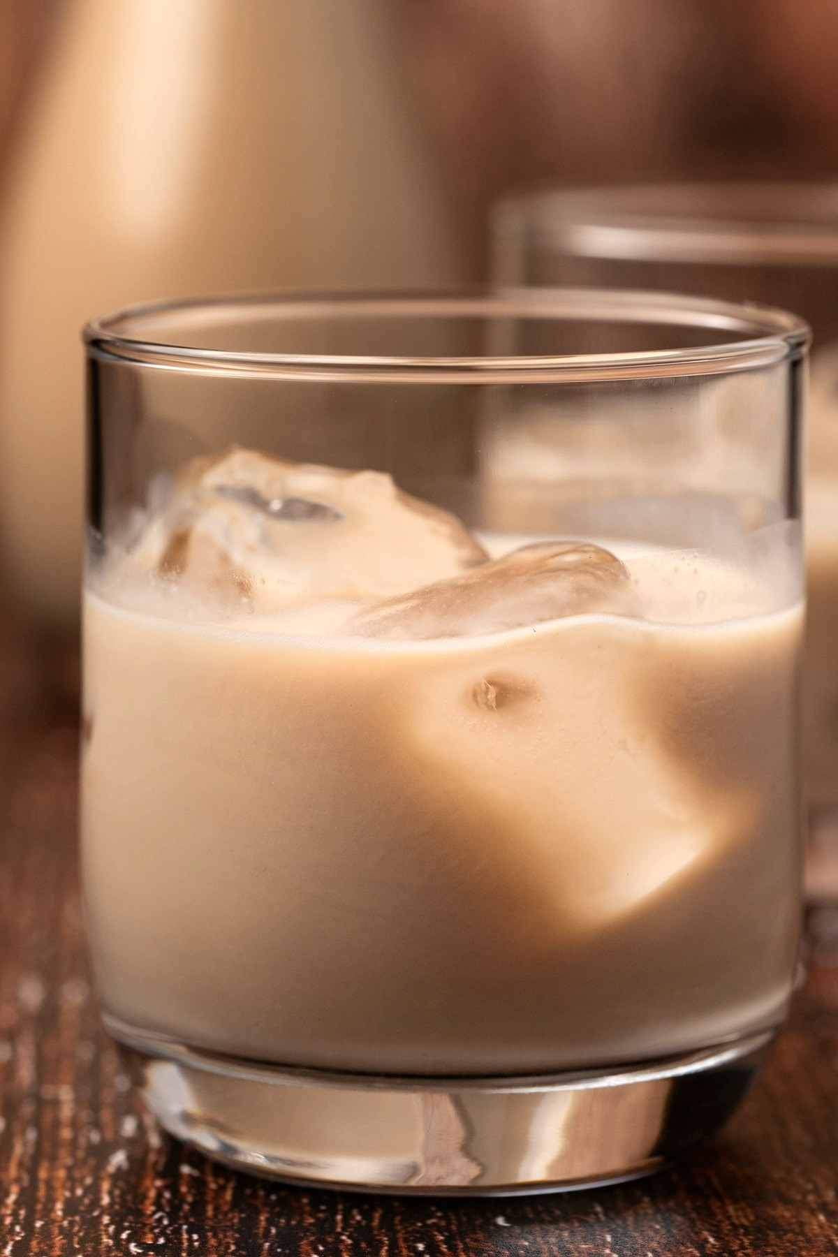 Homemade baileys with ice in a glass.