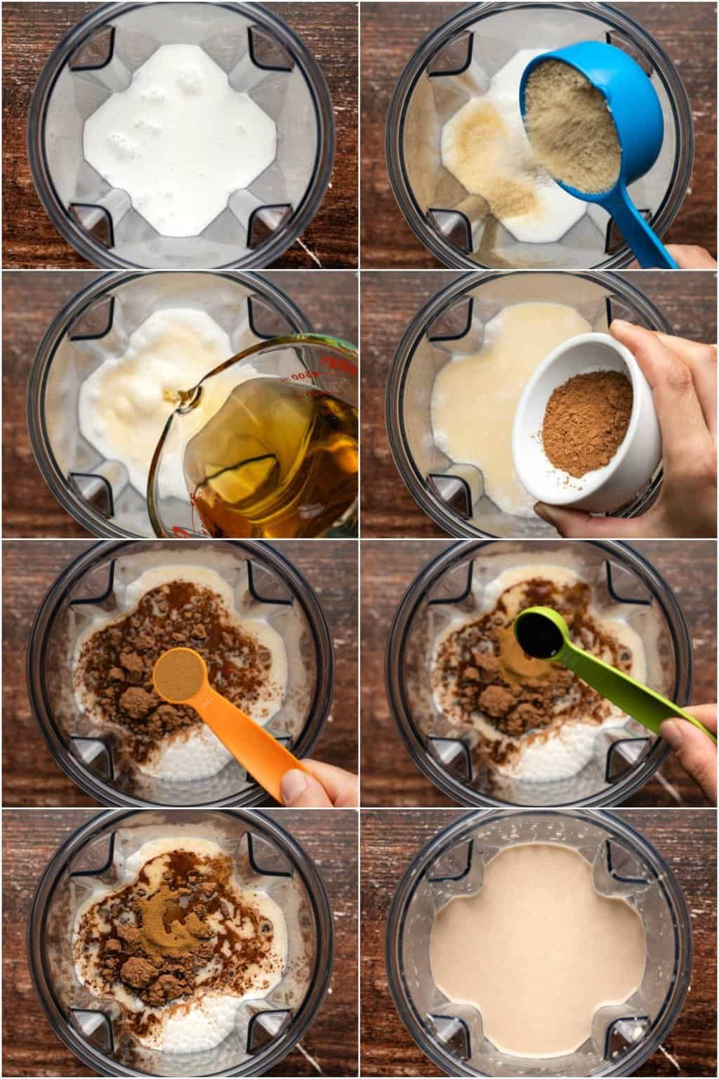 Step by step process photo collage of making vegan baileys.