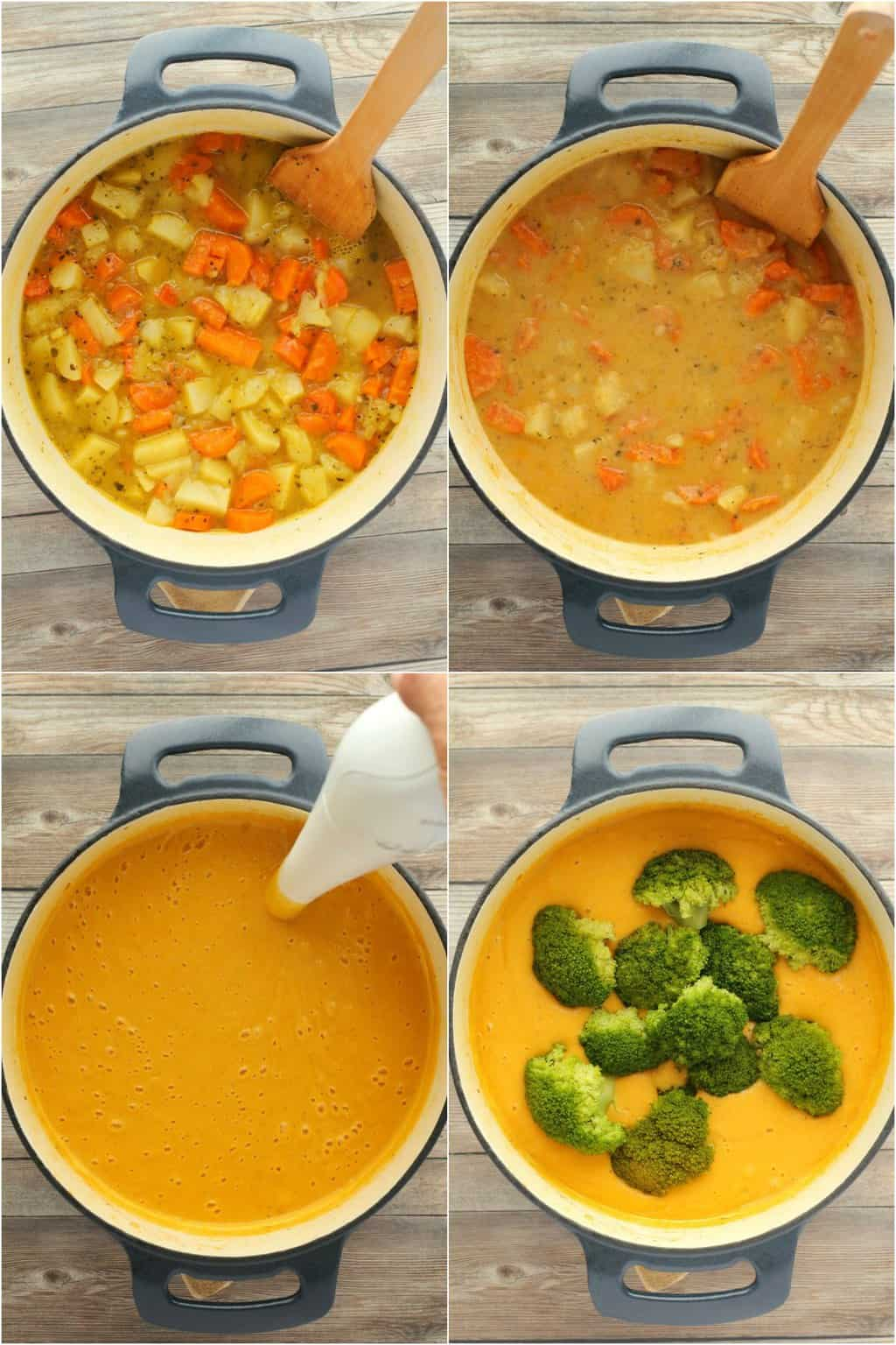 Step by step process photo collage of making vegan broccoli cheese soup.