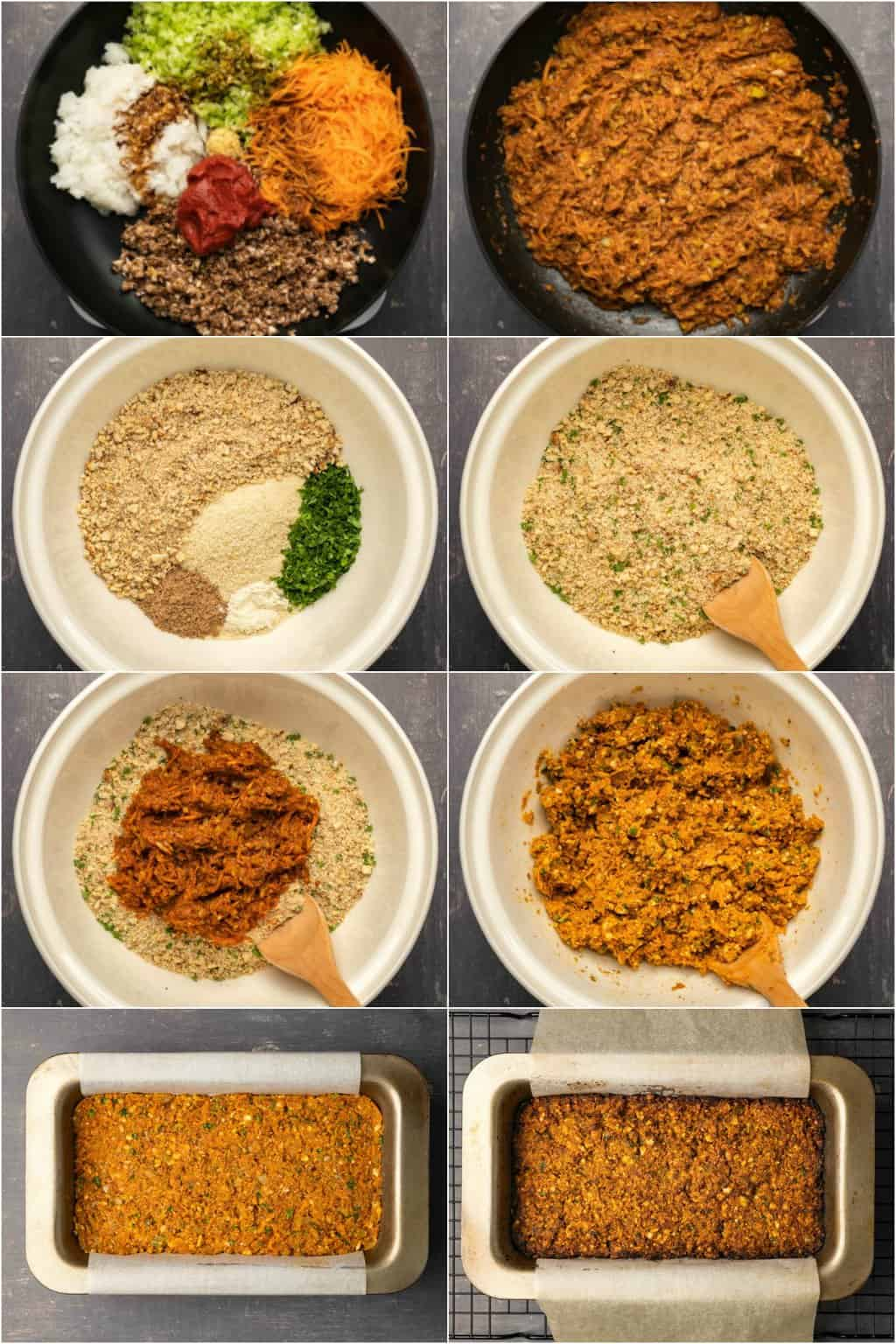 Step by step process photo collage of making a nut roast.